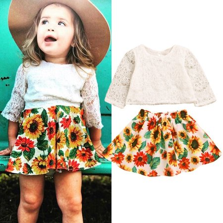 Kids Princess Outfit (Toddler Baby Girl Clothes Set Infant Kid Sunflower Outfit Lace Top Tutu Skirt Princess Children Clothing Set)