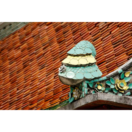 Canvas Print Sculpture Tiles Colorful Pattern Mosaic Roof Stretched Canvas 10 x 14