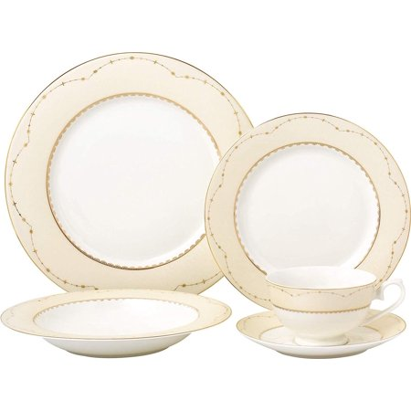 - Royalty Porcelain Vintage Yellow Gold 5-pc Place Setting 'Milky Way', Premium Bone China Porcelain