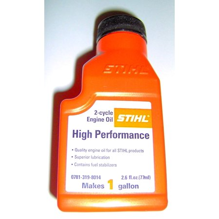 Stihl 0781 319 8014 High Performance 2 cycle Engine Oil 2.6 oz Makes 1 Gallon 2 Cycle High Performance Oil