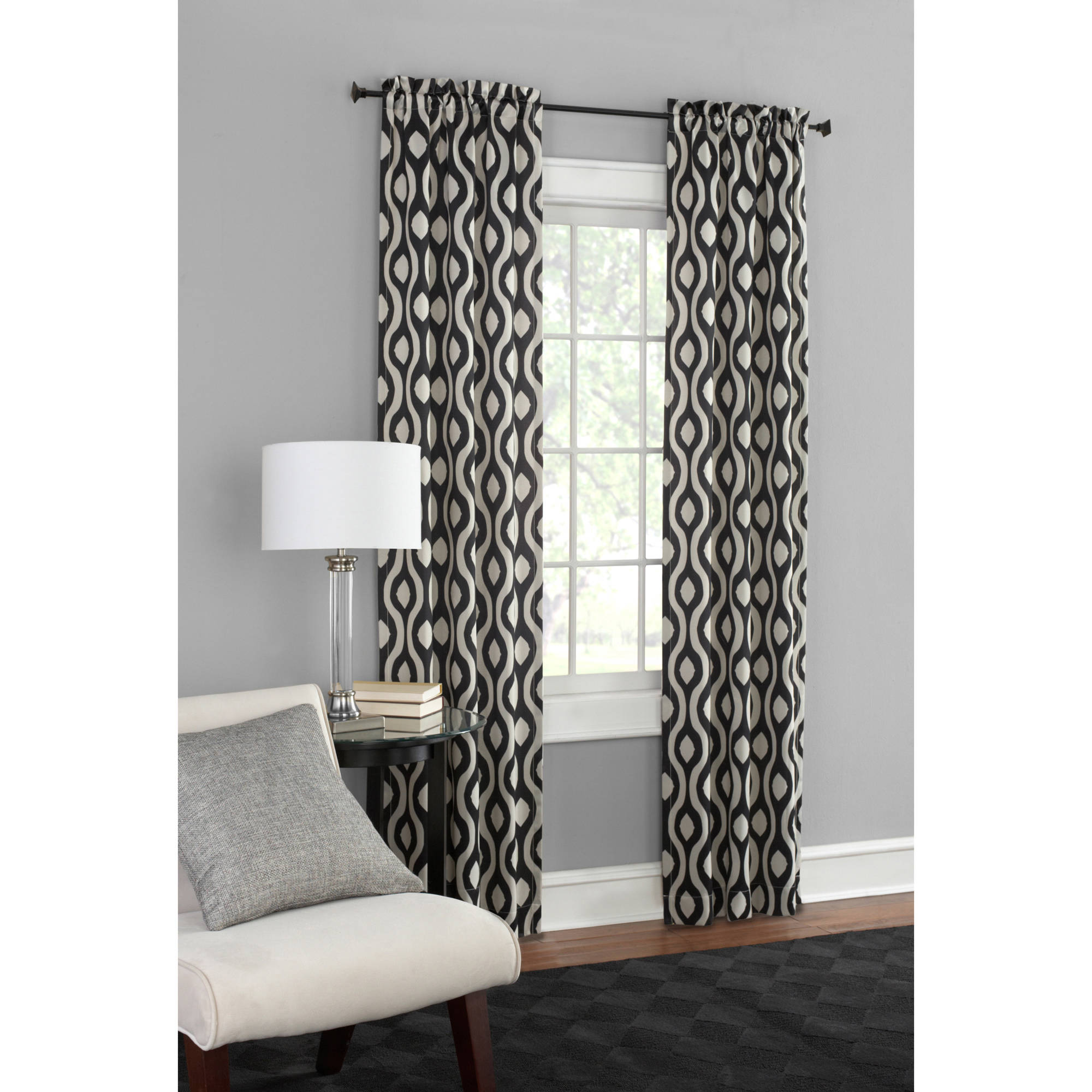 Mainstays Thermal Print Woven Curtain Panels, Set of 2, Multiple Colors