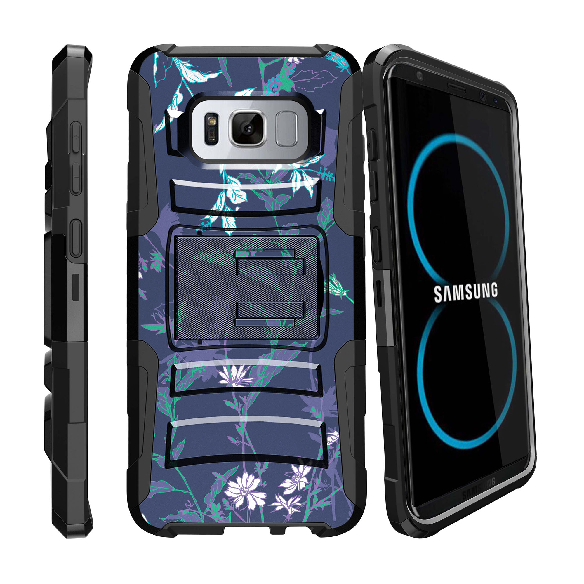 Case for Samsung Galaxy S8 | S8 Holster Case  [ Clip Armor ] Heavy Duty Case with Belt Clip & Kickstand Flower Collection