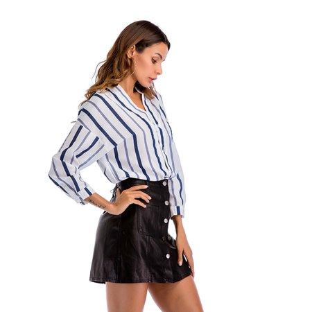 Yosoo Femmes à la mode bleu blanc rayé à manches longues col en v chemisier occasionnel lâche chemises, chemisier à col en v, chemisier à rayures - image 5 de 8
