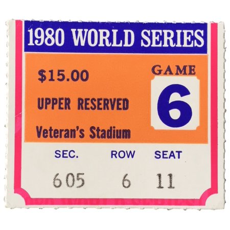 1980 World Series Game 6 Upper 600 Section Ticket Stub Phillies Vs Royals