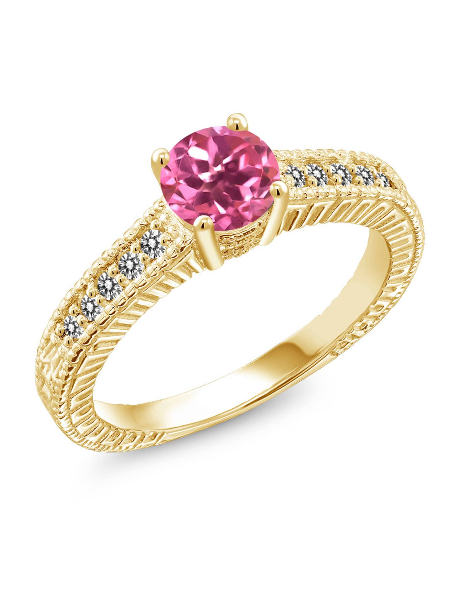 1.17 Ct Round Pink Mystic Topaz White Diamond 18K Yellow Gold Plated Silver Ring by