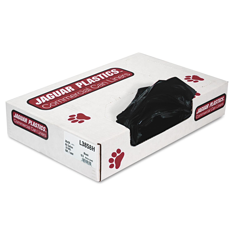 Jaguar Plastics Low-Density Trash Bags, 60gal, .7mil, Black, 100/Carton