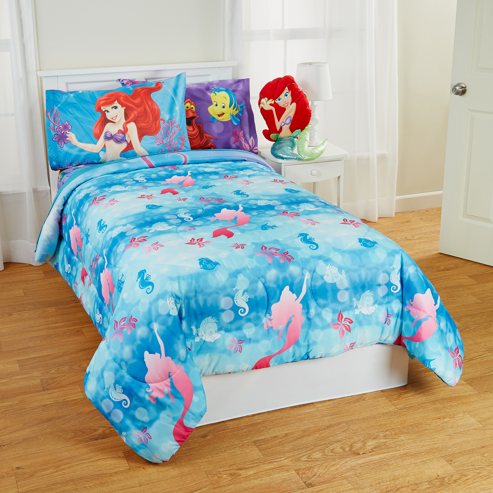 Little Mermaid Twin-Full Bed Comforter Flower Swirls Blanket