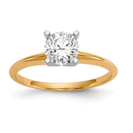 Engraved 14k Gold Solitaire (14 Karat Yellow Gold 1.0 Carat 6.5 MM True Light Moissanite Solitaire Ring )