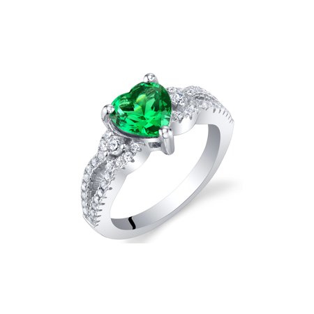 Simulated Emerald Sterling Silver Heart Soulmate Ring Sizes 5 to