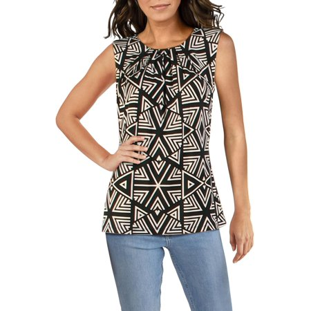 Calvin Klein Womens Printed Pleated Neck Camisole Top