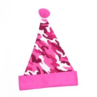 """16"""" pink camouflage christmas santa hat with pom-pom - adult size"""