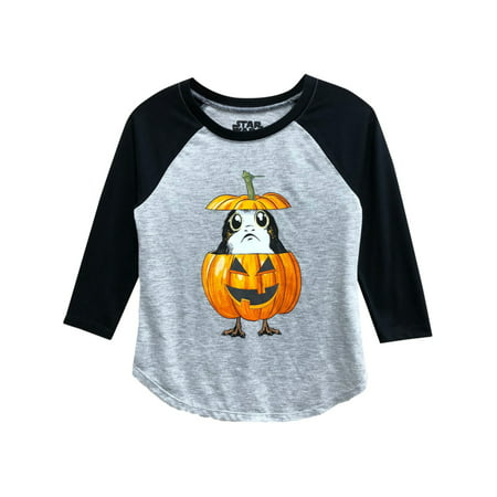 Starwars Pumpkin Carving (Girls Gray Star War Pumpkin Puffin Porg Halloween T-Shirt Baseball)