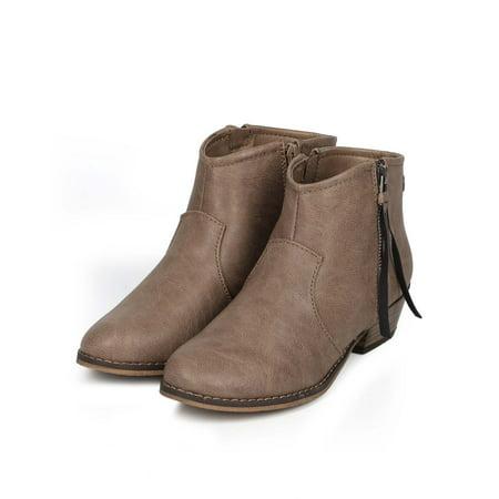 Breckelles Dorado-11 Beige Leatherette Zip Tassel Western Ankle Riding Bootie (7.5) (Tassel Zip)