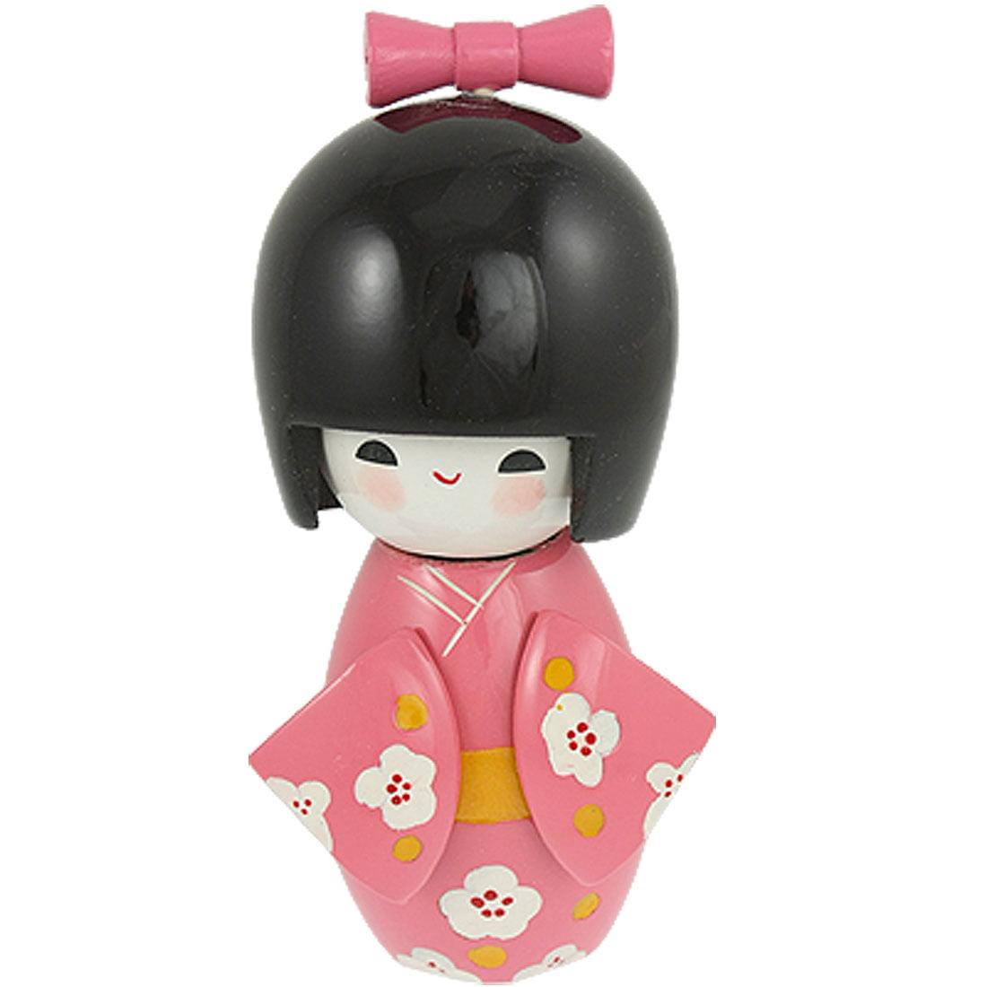 Bowtie Decor Smiling   Pink Kimono Japanese Kokeshi Doll Toy - image 1 of 1