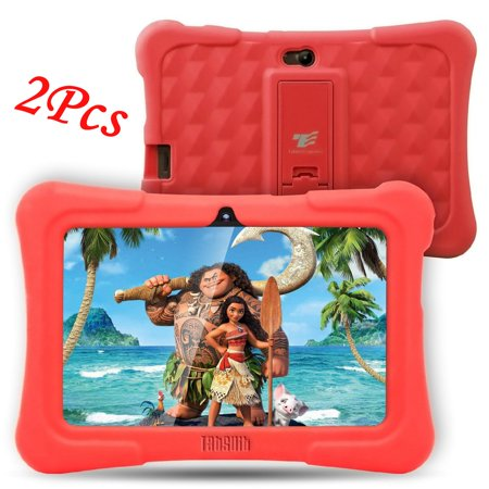 2Pcs DragonTouch Red Newest Y88X Plus 7 inch Kids Tablet Quad Core Android 6.0 Tablet With Children Apps 1GB / 8GB Kidoz Pre-Installed Best gifts for