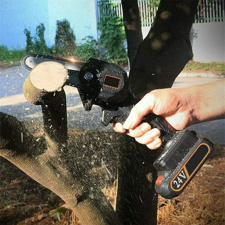 TBP 24V Rechargeable Mini Cordless Chainsaw, Portable Electric Chainsaw, Electric Pruning Saw, 4-Inch Wood working One-Handed Electric Saw for Tree Branch Wood Cutting,2 Batteries+2 Chains