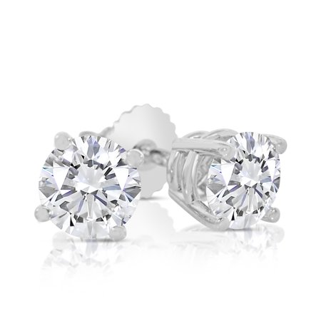 14k Dainty Gem (1.00ct tw Round Diamond Stud Earrings with Screw Backs 14k White Gold )