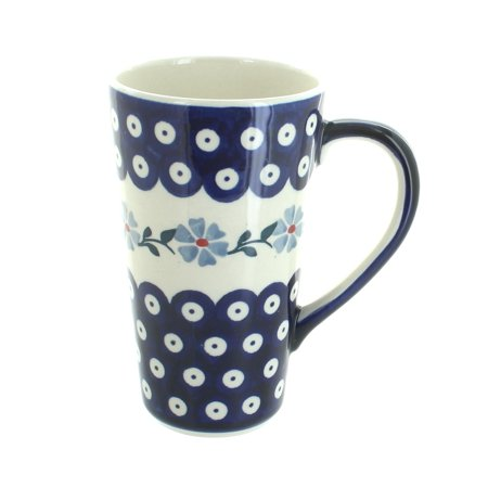 Polish Pottery Blue Violet Large Coffee Mug Polish Pottery Coffee Mug