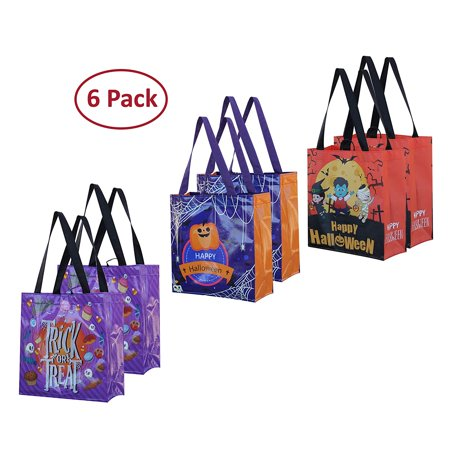 Halloween Paper Candy Bags (Halloween Bags Trick or Treat - Reusable Grocery Candy Goodie Totes Baggies Party Favor Bags (6)