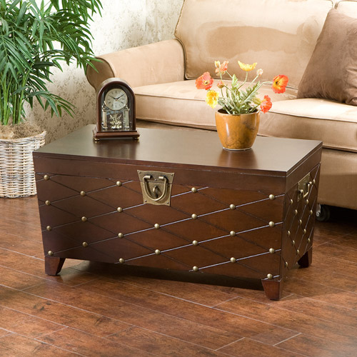 Longwood Nailhead Coffee Table Trunk EspressoWalmartcom