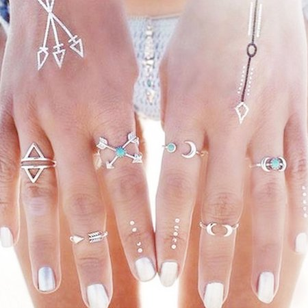 Sexy Sparkles 6PCS Fashion Vintage Turkish Arrow Moon Turquoise Joint Knuckle Nail Midi Ring Set