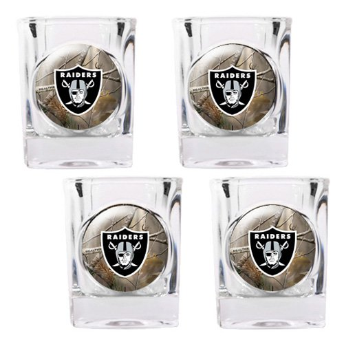 NFL - Oakland Raiders Open Field 4pc. Square Shot Glass Set
