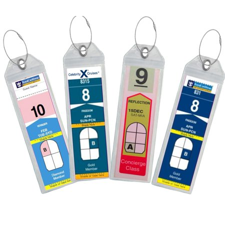 8 Narrow Cruise Tags Luggage Etag Holders Zip Seal & Steel Loops Thick PVC (Set of 8 Tag Holders)
