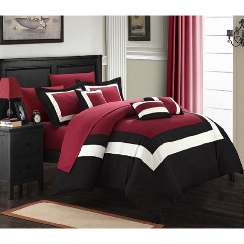 Chic Home Darren Red/White/Black 10-piece Bed in a Bag with Sheet Set Queen-Red/White/Black