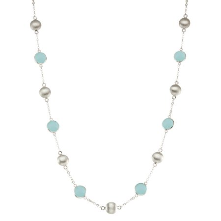 5th & Main Sterling Silver Bead and Bezel Short Necklace with Aqua Chalcedony Round Gemstones (Short Bead Necklaces)