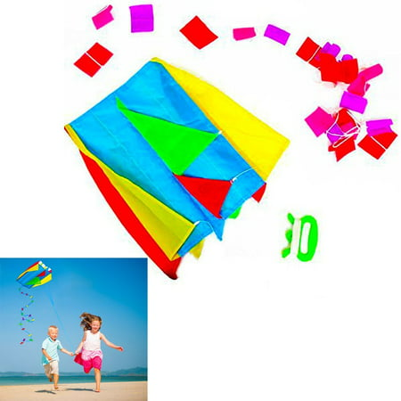 colorful parafoil kite - bright colored with a long tail, handle and string, pocket kite includes convenient carrying nylon drawstring bag, by dazzling toys (Kite Tails)