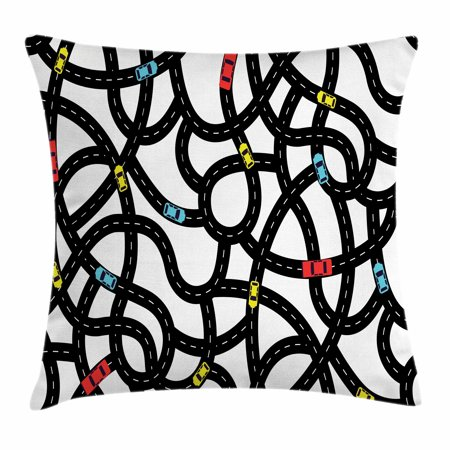 Cars Throw Pillow Cushion Cover, Intertwining Roads with Cars on Them Complicated Design with Urban Life Theme, Decorative Square Accent Pillow Case, 16 X 16 Inches, Black Yellow Blue, by Ambesonne