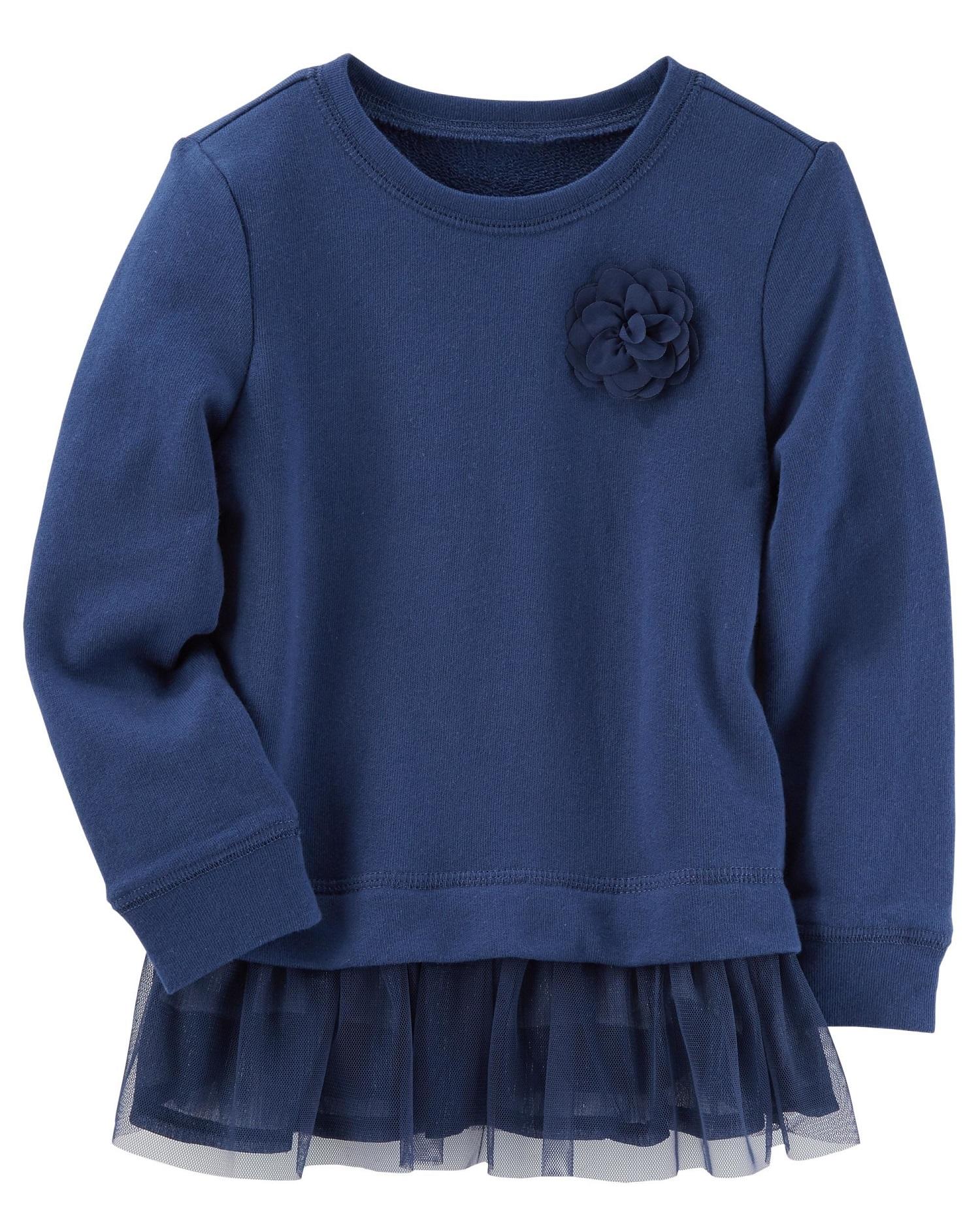 Carter's Little Girls' Rosette Peplum Top, Navy, 4-Toddler
