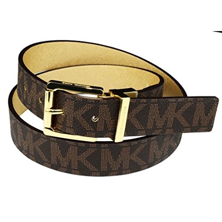 Michael Kors Womens Reversible MK Logo Gold Buckle Brown/Gold Belt, 553751C Extra - Large