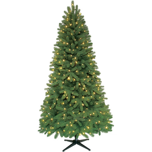 Holiday Time Pre-Lit 7.5' Edgewood Spruce Artificial Christmas Tree, Clear Lights