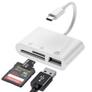 USB C SD Card Reader Adapter, Type C Micro SD TF Card Reader Adapter, 3 in 1 USB C to USB Camera Memory Card Reader Adapter for New iPad Pro MacBook Pro ChromeBook XPS and More UBC C Devices