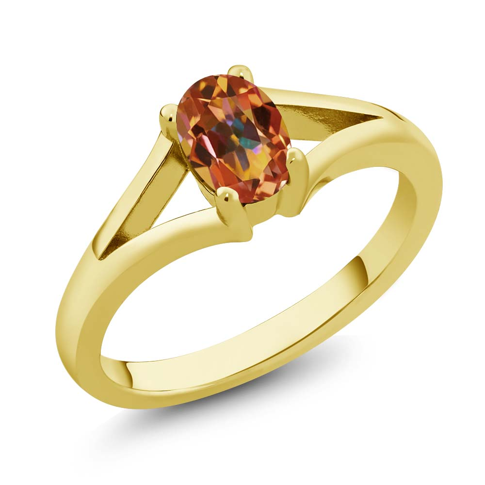 0.95 Ct Oval Ecstasy Mystic Topaz Yellow Gold Plated Silver Solitaire Ring