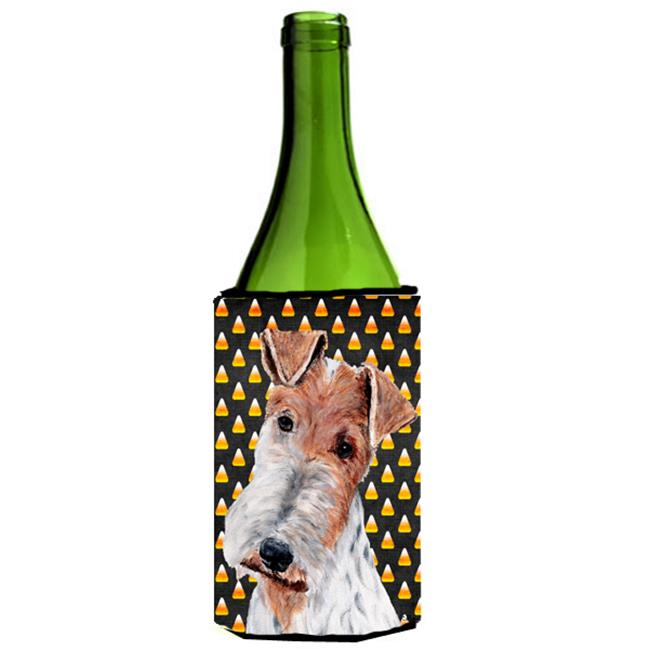 Carolines Treasures SC9652LITERK Wire Fox Terrier Candy Corn Halloween Wine bottle sleeve Hugger  24 Oz. - image 1 of 1