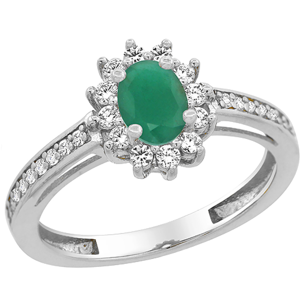 14K White Gold Natural HQ Emerald Flower Halo Ring Oval 6...