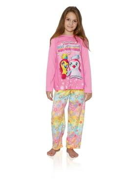 "Hatchimals Girls Long Sleeve 2 Piece Pajama Set ""Feel The Egg-citement"", Peach Multi, Size: 4/5"