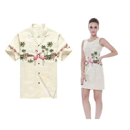 Made in Hawaii Couple Matching Hawaii Luau Aloha Shirt Tank Dress in Pink Flamingos in Cream Men 2XL Women M - Couple Dress Up
