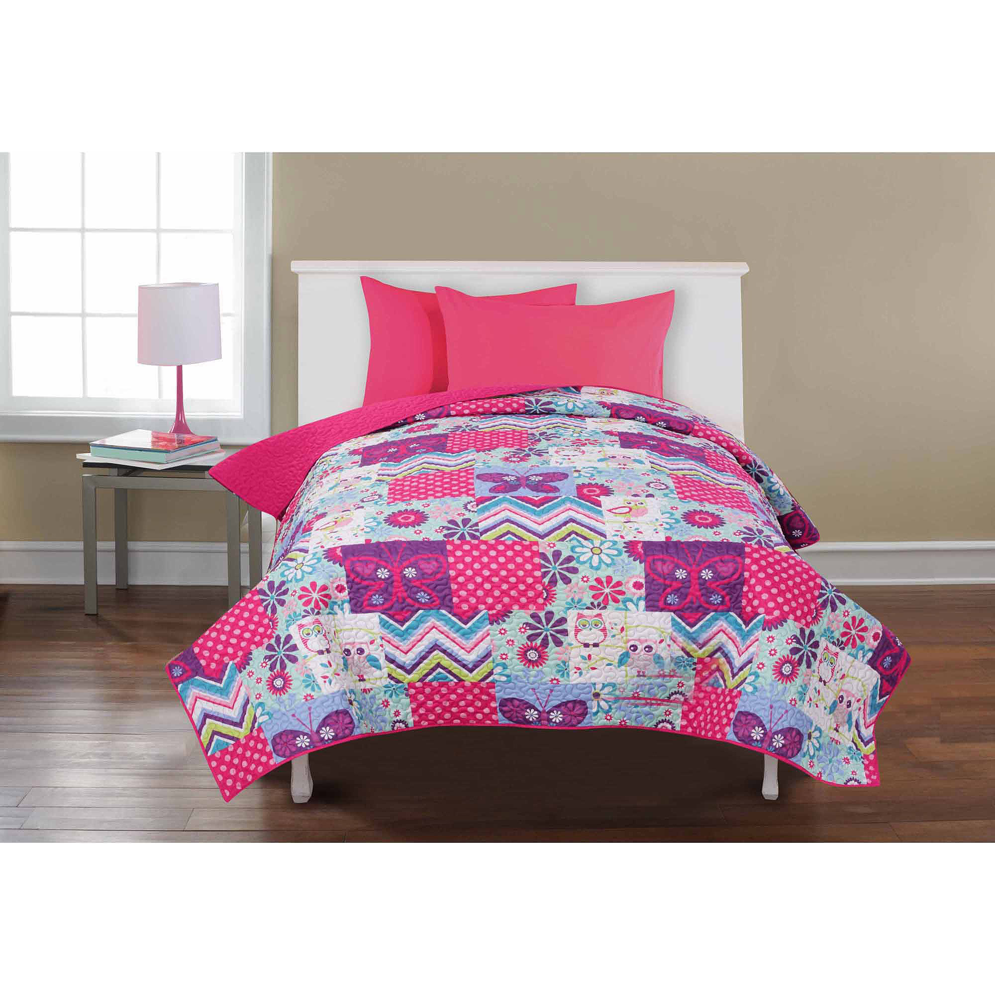 Mainstays Kids' Reversible Quilt, Owls & Butterflies