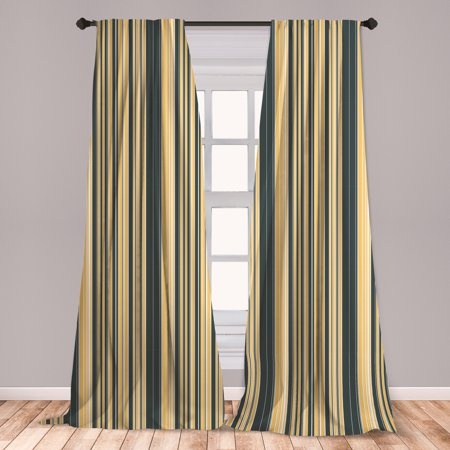 Geometric Curtains 2 Panels Set, Barcode Style Pattern in Retro Colors Straight Parallel Vertical Lines, Window Drapes for Living Room Bedroom, Dark Blue Grey Yellow, by Ambesonne ()