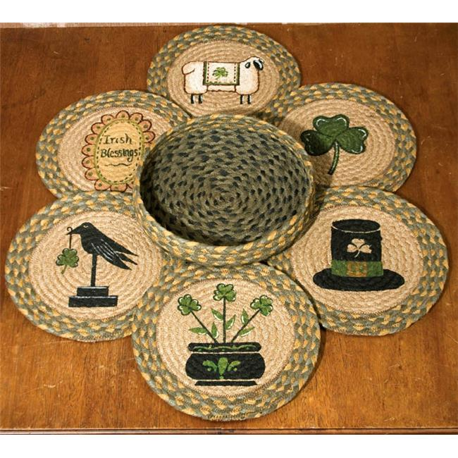 Capitol Importing 56-1128 Irish - Set of 7 Trivets in a Basket