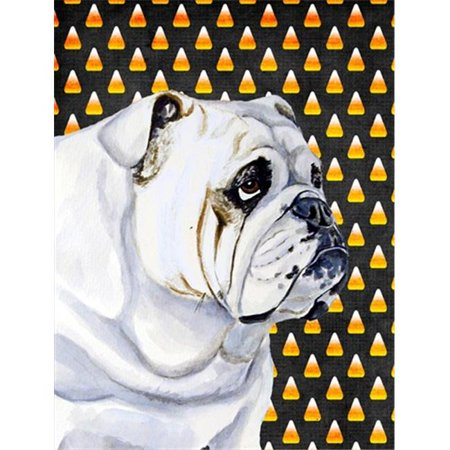 11 x 15 in. Bulldog English Candy Corn Halloween Portrait Garden Size - Halloween In English