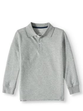 Wonder Nation Boys School Uniform Long Sleeve Double Pique Polo (Little Boys & Big Boys)