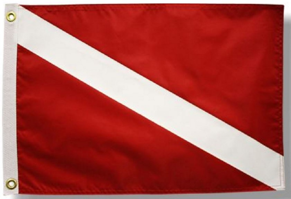 12x18 Red Diver Down Double Sided Boat Flag Nautical Banner Made in USA New by Home and Holiday Flags