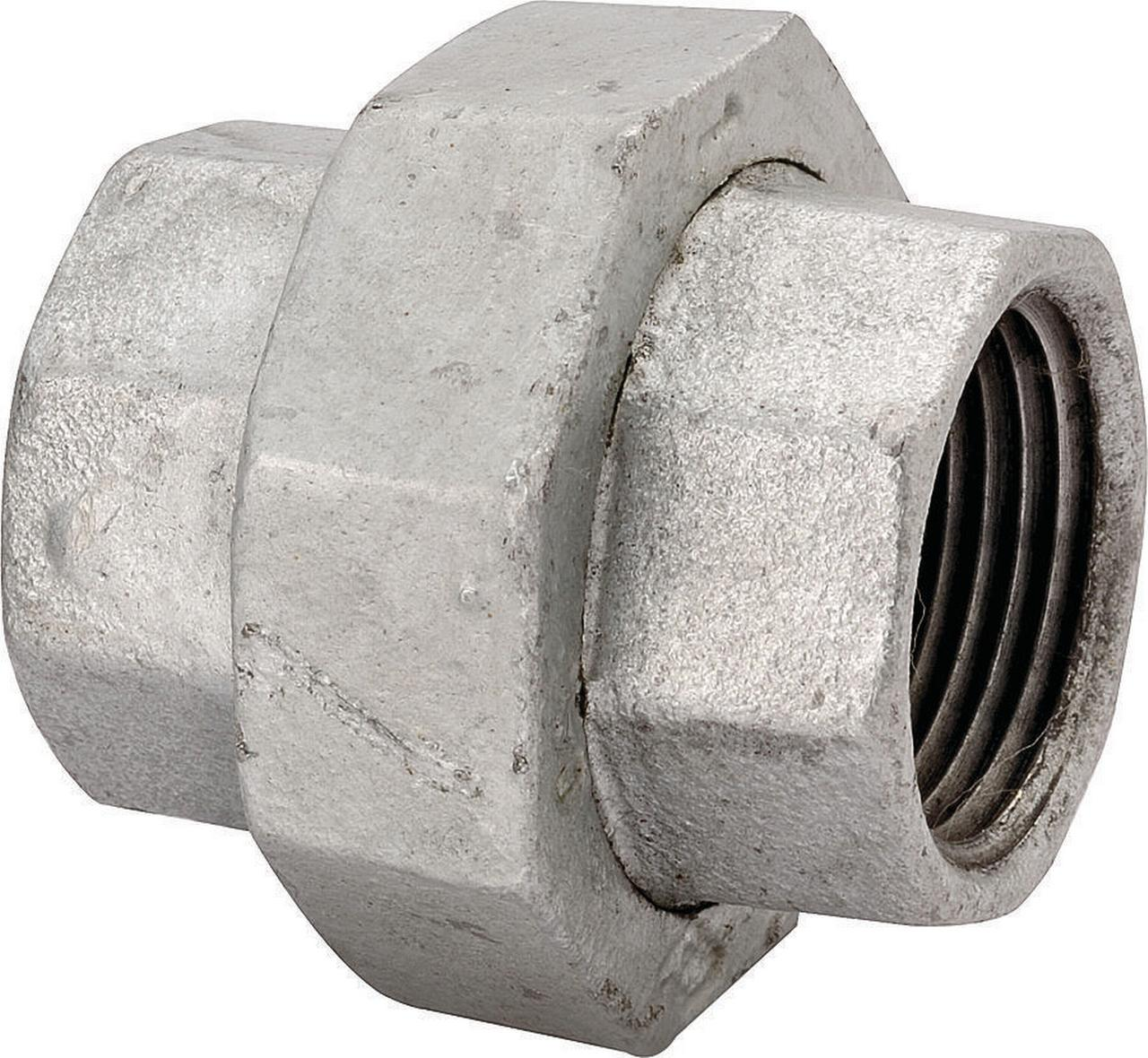 WORLDWIDE SOURCING 34B-1-1/4G Ground Joint Pipe Union, 1-1/4 in, Threaded, 150 psi, Malleable Iron,