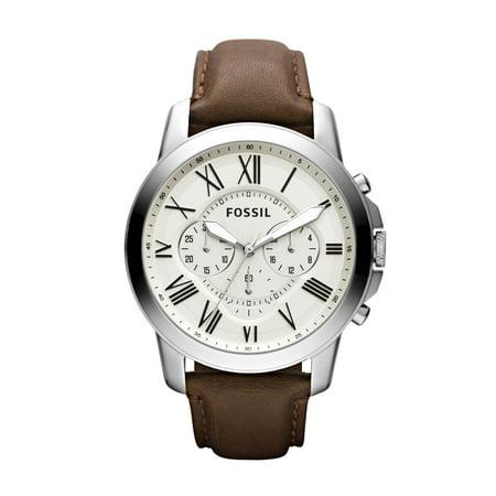Relógio Fossil para homem de quartzo, aço inoxidável e couro, modelo FS4735