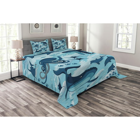 Shark Bedspread Set, Inhabitants of Ocean Sharks Whales Dolphins Octopus Jellyfish Starfish with Waves Image, Decorative Quilted Coverlet Set with Pillow Shams Included, Blue, by Ambesonne