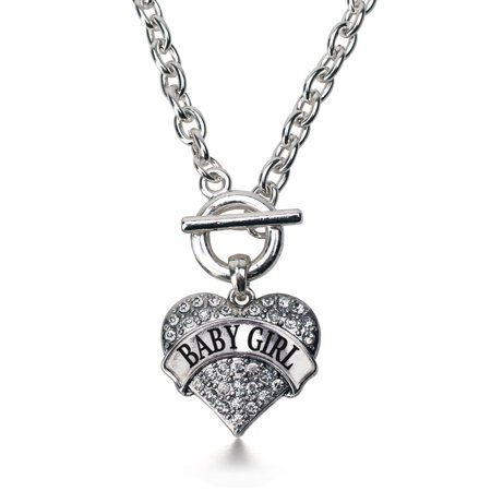 Baby Girl Pave Heart Toggle Necklace